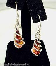 10.5mm 925 Silver Genuine Baltic Sea Cognac Amber Teardrop Swirl Hook Earrings