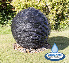 Garden Outdoor Torver Slate Effect 30cm Round Water Feature With Lights Ambiente