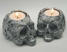 SILVER Ornamental Skull Tealight Goth Halloween Candle Tea Light Holder Gift