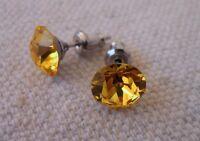 HYPOALLERGENIC Stud Earrings Lead and Nickel Safe  Swarovski Elements  Yellow