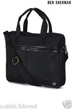 Ben Sherman Ballistic Black Nylon Commuter Messenger Organiser Bag New (321)