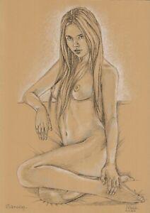 original drawing A3 68DO art samovar modern female nude pastel signed 2020