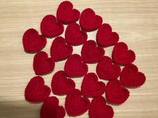 20 Red Crochet Hearts suitable for crafting approx size 5 x 6 cm - Handmade