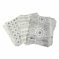 """Authentic White/Black Mudcloth Fabric African Mali Mud Cloth Handwoven 45""""x 63"""""""