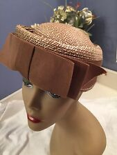 Vintage Ladies Hat Straw Big Brown Bow