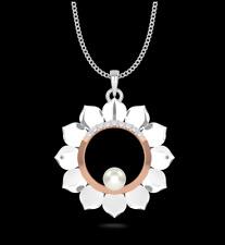 "IGI Certified ""Sun Tiara"" Pearl Pendant Necklace Natural Diamonds 14K White Gold"