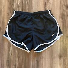 Nike Womens Running Shorts Black Large Drifit White Swoosh Activewear Walking