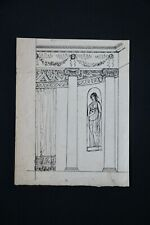 Ink Drawing Classical Building & Sculpture Laid Paper ? George William Schinzel