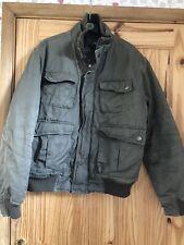H&M Mens Khaki Zipped Padded Pocket Detail Coat UK Size M,EU 50, US 40