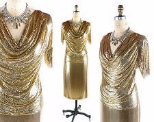 Vintage 1970s 70s WHITING AND DAVIS Gold Metal Mesh DRESS Skirt Shirt Set sz S/M