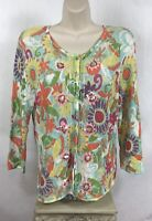 Susan Bristol Size M Cardigan Perforated 3/4 Sleeve Sequin Embellished Jacket