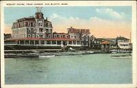 Oak Bluffs Martha's Vineyard MA Wesley House From Harbor c1920 Postcard