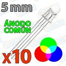 LED RGB 5mm Ultra Brillo 60mA 4 pines Anodo comun - Lote 10 unidades - Arduino E