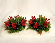 Vintage Christmas Candle Rings Plastic Greenery Red Berries for Tapers Set of 2