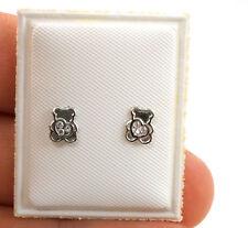 Toddler Earrings Sterling .925 Silver Screw back Lil Hearts in Bears