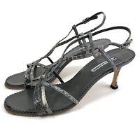 Manolo Blahnik Womens Ankle Strap High Heel Sandals Size 41 Gray Black Snakeskin