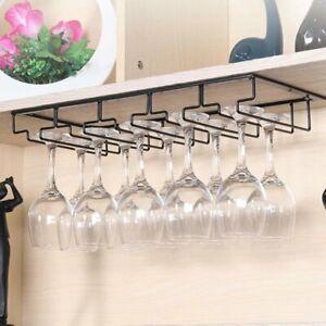 Hanger Organizer Wine Glass Cup Rack Hanging Under Cabinet Storage Shelf Holder
