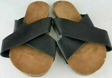 Esprit Crisscross Leather Flip Flop Sandals Black Brown Women's Size 9 1/2