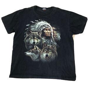 Rock Eagle Men's T-shirt Sz XL Vintage Style Native Wolves Eagles EUC Q2