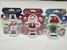 Set of 3 Solar Dancing Christmas Figures Santa Claus Elf Snowman Bobble Xmas NEW
