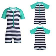 Unisex Baby One-piece Zippered Striped Swimsuit Boys Girls Swimwear Bathing Suit