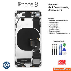 NEW iPhone 8 Complete Fully Assembled Back Cover Housing with ALL Parts - SILVER