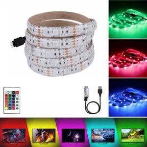 LED Light Strip DC 5V USB Flexible Light Ribbon Tape 5050 RGB 5M IR Remote IP65