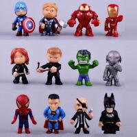 12*Mini Superhero Action figures CAKE TOPPER Avenger men Spider Cool hulk MAN
