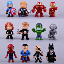 12*Mini Superhero Action figures CAKE TOPPER Avenger men Spider Cool hulk MAN