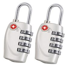 2 x TRIXES 4-Dial TSA Combination Padlock for Luggage Suitcases and Travel