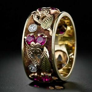 Women Fashion Two Tone 925 Silver Jewelry Wedding Ring White Sapphire Size 10