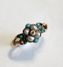 Victorian Cluster Turquoise & Seed Pearl 18k Yellow Gold Ring Size 5