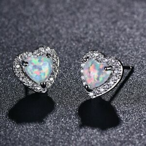 White Heart Opal With Tiny Created Diamond 925 Silver Studs / Earrings