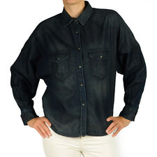 NEW DIESEL SHIRT DENIM 2 6 $250 NAVY WOMEN WESTERN