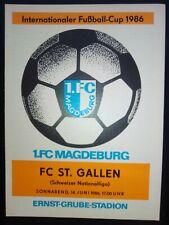 1.FC Magdeburg - FC Sankt Gallen Schweiz 1986 IFC Intertoto Cup Programm DDR RAR