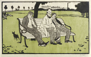 EMIL ORLIK - LONDONER TAGEDIEBE - Farbholzschnitt 1898