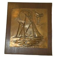 Vintage Hammered Copper Wall Art Pressed Embossed Boat Ship Nautical Decor