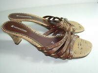 WOMENS BROWN GOLD LEATHER NATURALIZER SLIDES SANDALS CAREER HEELS SHOES SIZE 8.5
