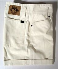 L@@K! Size 7/8 Grass Raggs Juniors Ivory Denim Cuffed Cotton Shorts