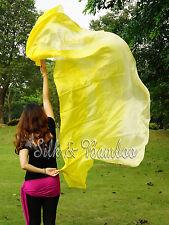 "yellow fading 3yd*45"" belly dance silk veil+bag,light 5mm paj silk, edges rolled"
