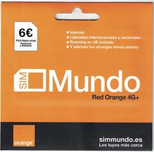Tarjeta SIM ORANGE MUNDO 4G PREPAGO 6 € SALDO NAVEGA Y HABLA GO EUROPA PROMOCION