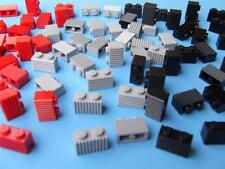 75 New Lego Train Car Modular House 1x2 Grill Bricks Red Black Light Bluish Gray
