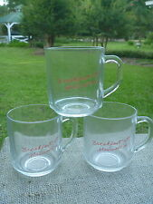 3 Vintage Clear Glass w Red BREAKFAST AT MAXWELL'S Market Baton Rouge LA Cup Mug