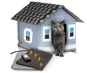 PETYELLA Heated cat Houses for Outdoor Cats in Winter - Heated Outdoor cat Ho...