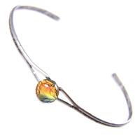 "Dichroic Cuff Bracelet ADJUSTABLE Gold Copper Orange Fused GLASS Tiny 1/4"" 8mm"