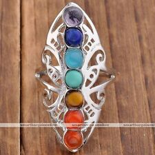 Healing Point 7 Chakra Gemstone Resin Hollow Butterfly Carved Finger Ring Gift