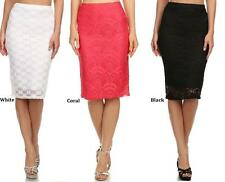 Straight, Pencil Regular Knee-Length Floral Skirts for Women
