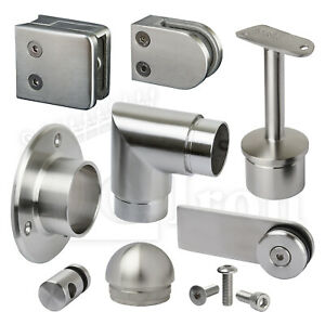 Stainless Steel Handrail Fittings Balustrade Glass Railings Fence Clamps Panels