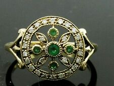 C801- EXQUISITE Genuine 9ct Solid Gold NATURAL DIAMOND & Emerald Ring in yr size