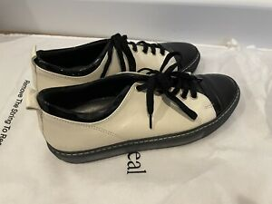 LANVIN Leather Lace Up Low Top Cream Black Sneaker Size 37